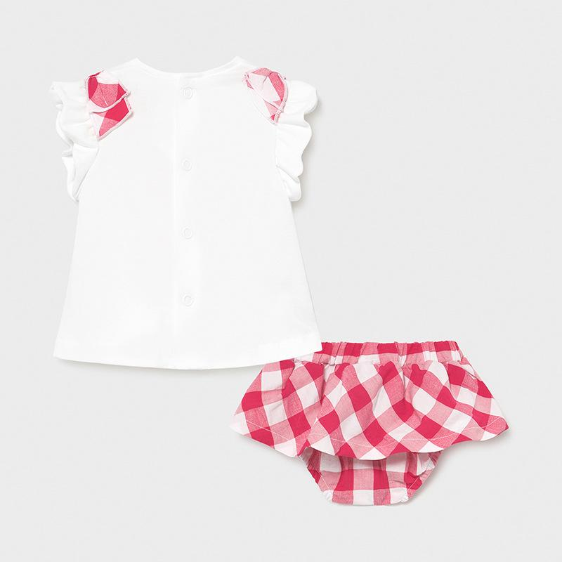 MAYORAL 1839 PINK GINGHAM SKIRT & TEE-SHIRT SET - Cherubs