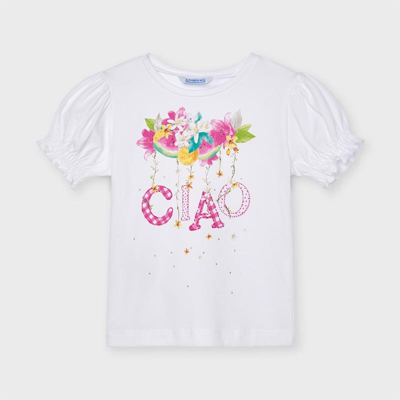 MAYORAL 3004 CAMELLIA SHORT SLEEVE CIAO TEE-SHIRT IN STOCK - Cherubs