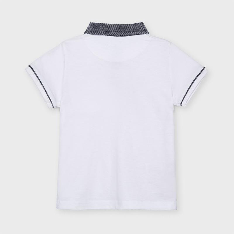 MAYORAL 3110 WHITE TAILORED SHORT SLEEVE POLO SHIRT IN STOCK - Cherubs