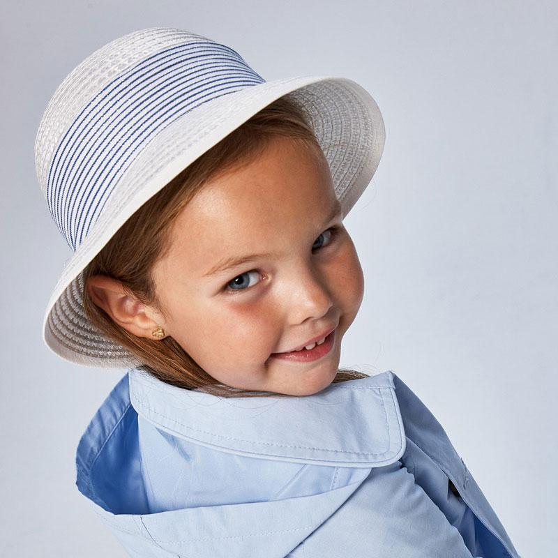 PRE-ORDER MAYORAL 10080 WHITE BLUE STRIPE HAT - Cherubs