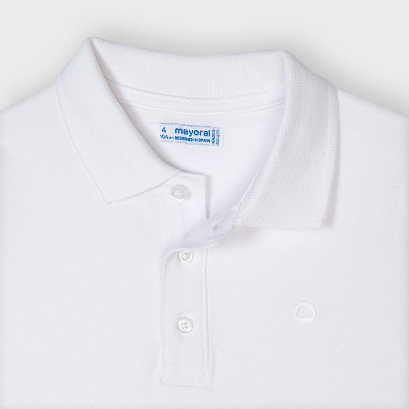 PRE-ORDER MAYORAL 150 WHITE SHORT SLEEVE POLO SHIRT - Cherubs