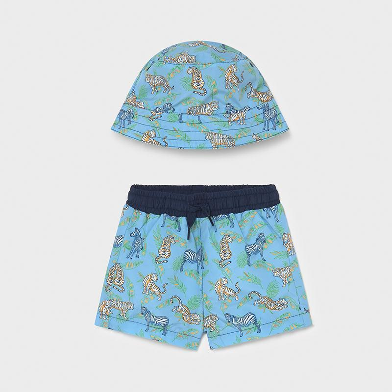 PRE-ORDER MAYORAL 1666 LAVENDER SWIM SHORTS & HAT - Cherubs