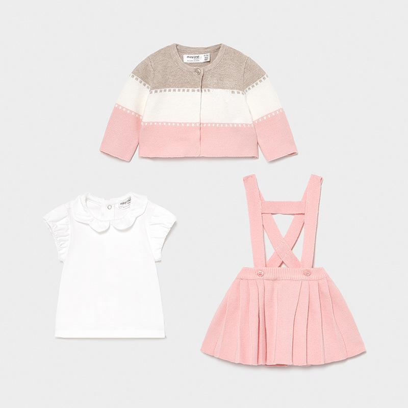 PRE-ORDER MAYORAL 1813 CANDY BLOUSE, SKIRT & CARDIGAN - Cherubs