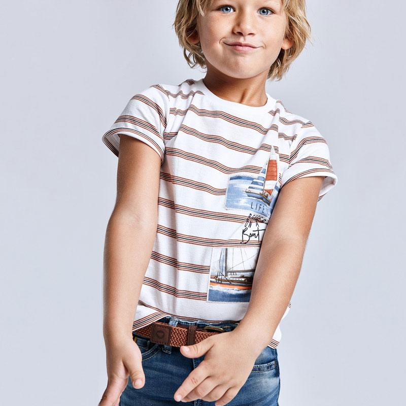 PRE-ORDER MAYORAL 3029 CLAY STRIPE SHORT SLEEVE TEE-SHIRT - Cherubs
