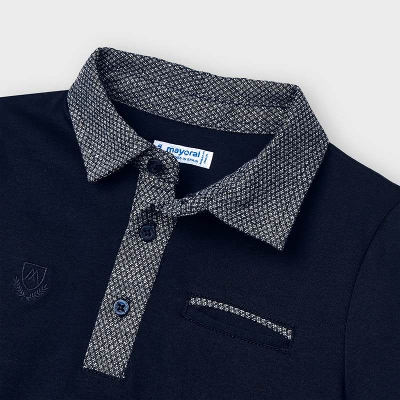 PRE-ORDER MAYORAL 3110 NAVY TAILORED SHORT SLEEVE POLO SHIRT - Cherubs