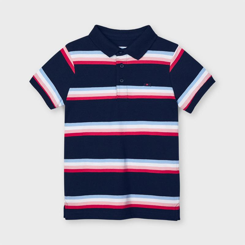 PRE-ORDER MAYORAL 3111 NAVY STRIPE SHORT SLEEVE POLO SHIRT - Cherubs