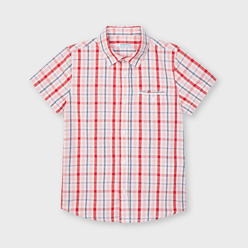 PRE-ORDER MAYORAL 3123 CYBER RED CHECK SHORT SLEEVE SHIRT - Cherubs