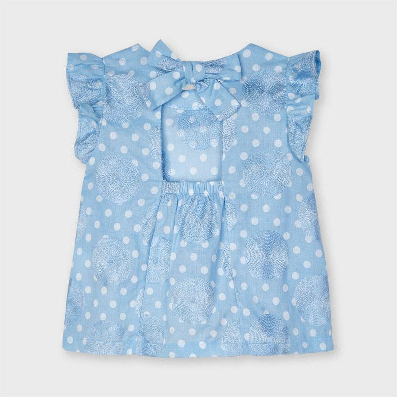 PRE-ORDER MAYORAL 3188 LIGHT BLUE EMBROIDERED DOTTY BLOUSE - Cherubs