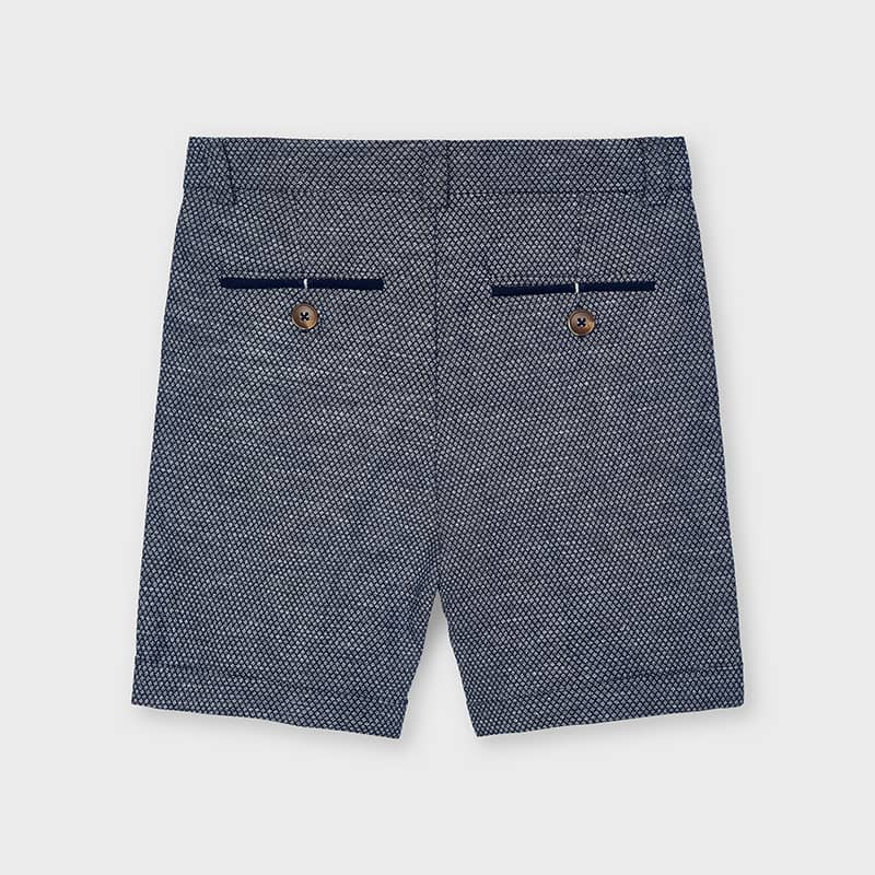 PRE-ORDER MAYORAL 3223 NAVY TAILORED LINEN SHORTS - Cherubs