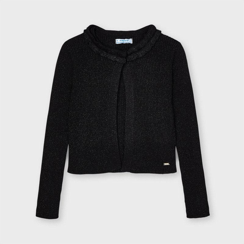 PRE-ORDER MAYORAL 3325 BLACK LUREX CARDIGAN - Cherubs