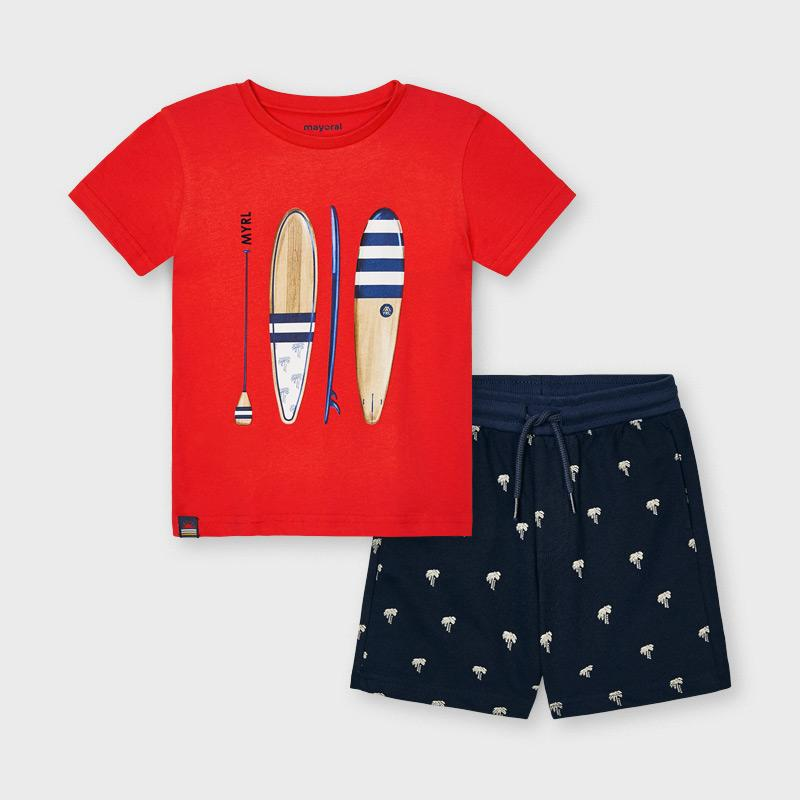PRE-ORDER MAYORAL 3638 CYBER RED SHORTS SET - Cherubs
