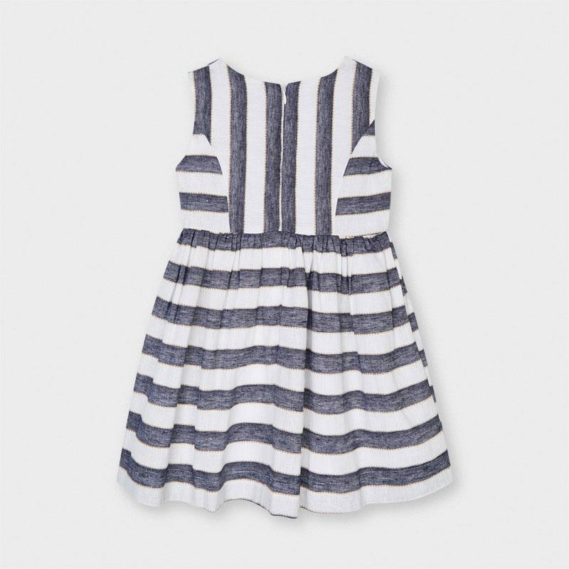 PRE-ORDER MAYORAL 3919 INK STRIPE LINEN DRESS - Cherubs