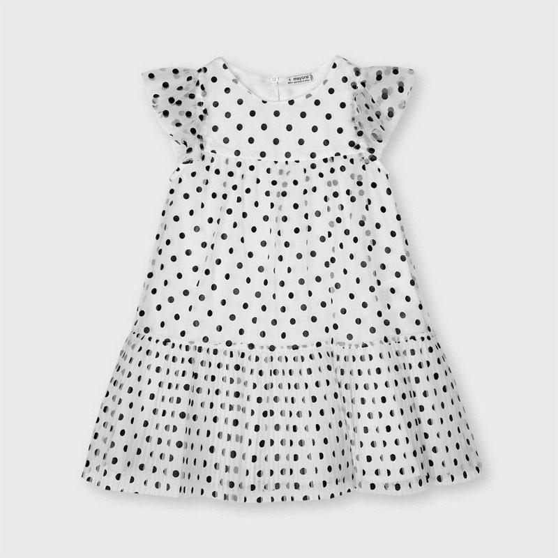 PRE-ORDER MAYORAL 3927 BLACK POLKA DOT TULLE DRESS - Cherubs