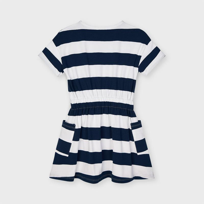 PRE-ORDER MAYORAL 3957 INK STRIPE DRESS - Cherubs