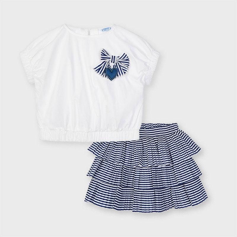 PRE-ORDER MAYORAL 3960 INK STRIPE SKIRT SET - Cherubs