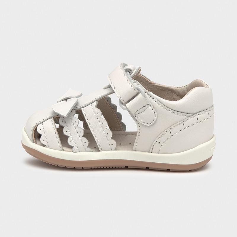 PRE-ORDER MAYORAL 41238 WHITE LEATHER SANDALS - Cherubs