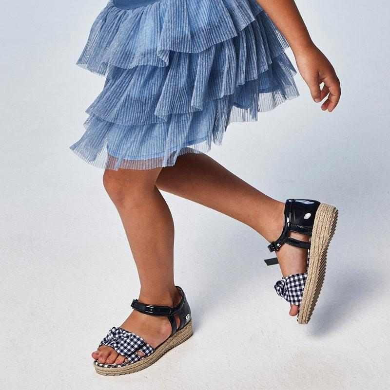 PRE-ORDER MAYORAL 43283 NAVY GINGHAM SANDALS - Cherubs