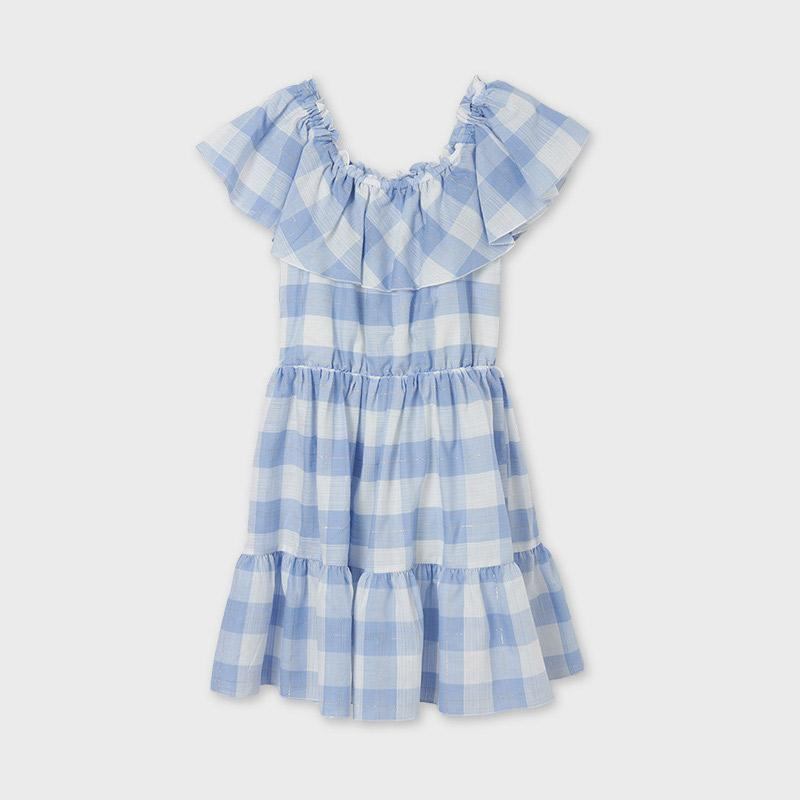 PRE-ORDER MAYORAL 6925 LIGHT BLUE GINGHAM DRESS - Cherubs