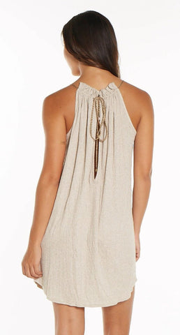 HALTER DRESS WITH KEYHOLE BACK