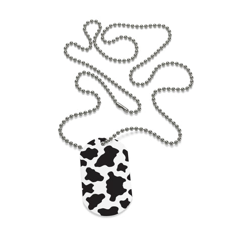 Cow Print Dog Tag Necklace