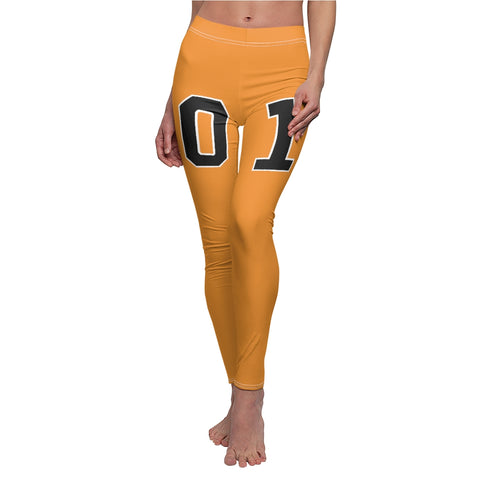 General Lee Leggings 01 in Orange With Numbers On Front