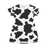 Cow Spots Print T-Shirt Dress
