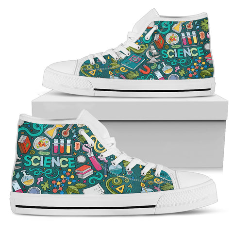 Science Green Board Graphiti High Tops Ladies Shoes