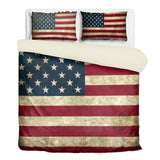 Vintage USA Flag 3 Piece Bedding Set in King Queen or Twin with Comforter and Pillow Cases