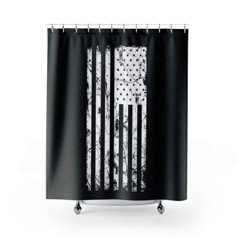 Black and White USA Flag Shower Curtain with Word