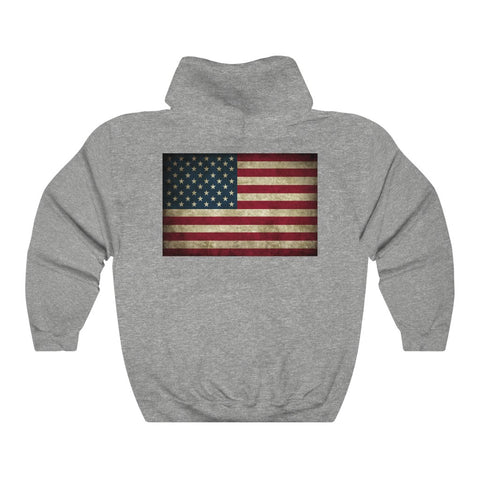 American Flag Hoodie With Front Pocket and Grunge Flag