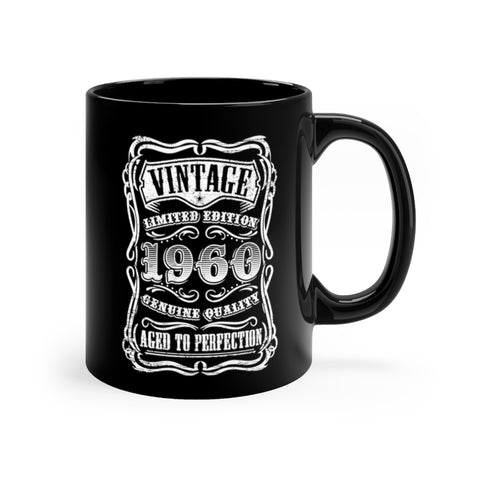 Vintage 1960 Age To Perfection Birthday Black mug 11oz