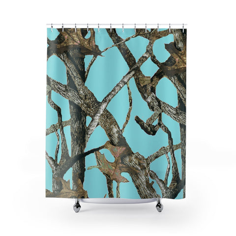 Teal Camo Shower Curtain with Hunting Pattern