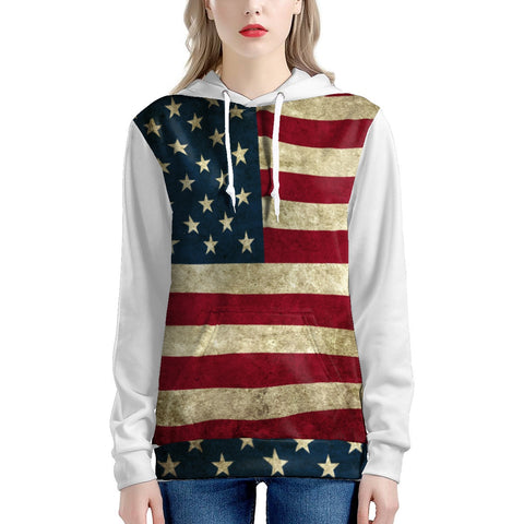Ladies American Flag Hoodie With White Sleeves In Plus Sizes Up To 5x