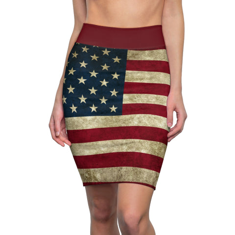 American Flag Pencil Skirt Grunge Pattern