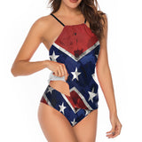 Confederate Flag Women's Shirred Maillot 2 Piece Swimsuit
