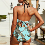 Aqua Camo Swimsuit With Chest Tie Hunting Pattern