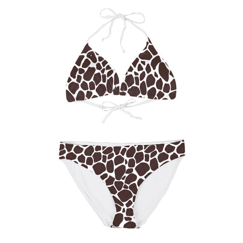 Women's Mid Waisted Leopard Print 2 Piece Bikini with White String Ties and Removable Pads