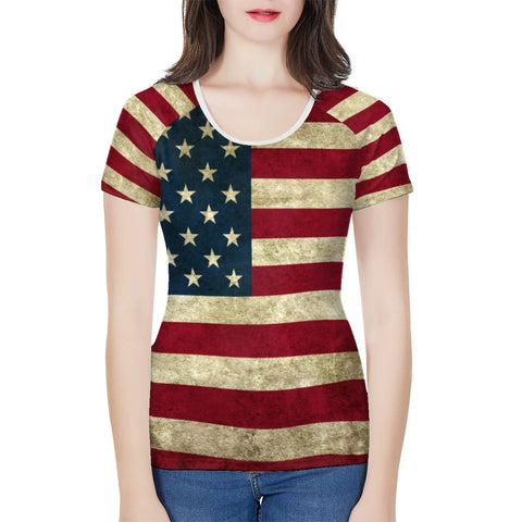 Ladies American Flag Shirt All Over Print Rustic Design