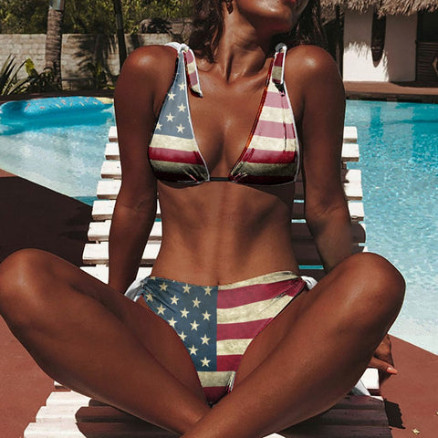 Women's Patriotic USA Flag Bathing Suit 2 piece