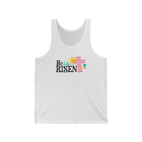 He Is Risen Christian Tank Top With The Cross Unisex