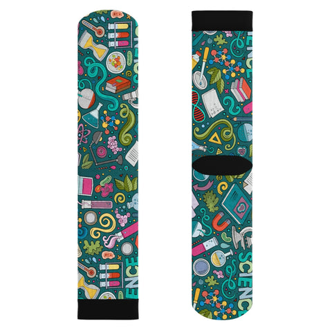 Science Green Chalk Board Socks