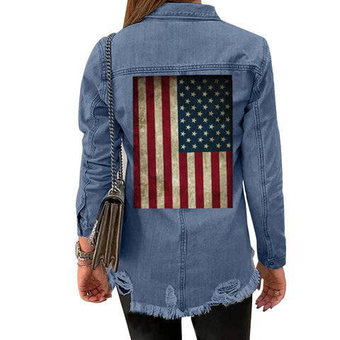 Women's American Flag Denim Jacket