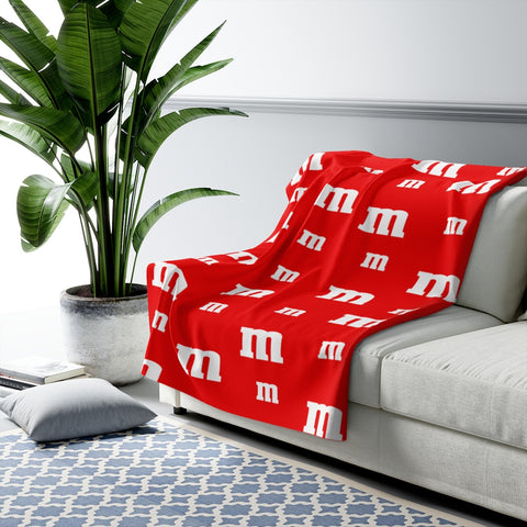Red M Candy Sherpa Fleece Blanket