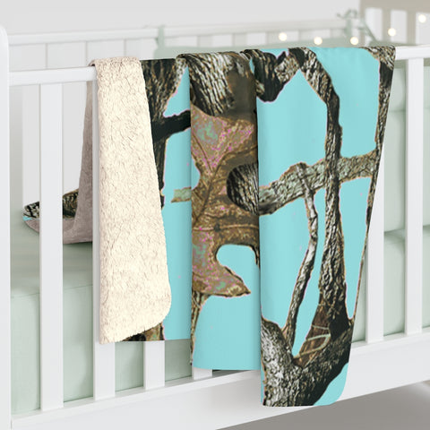 Hunting Teal Aqua Camo Sherpa Fleece Blanket