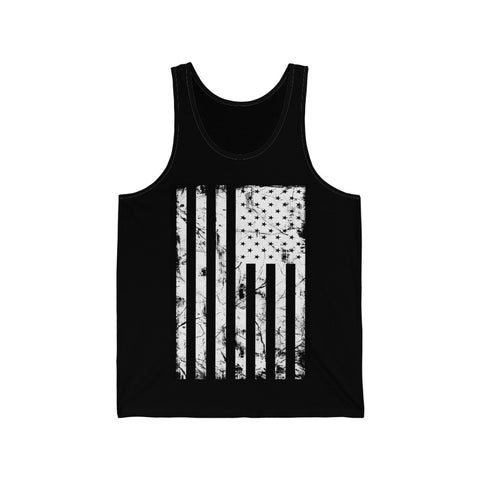 Black and White American Flag Tank Top Unisex Grunge