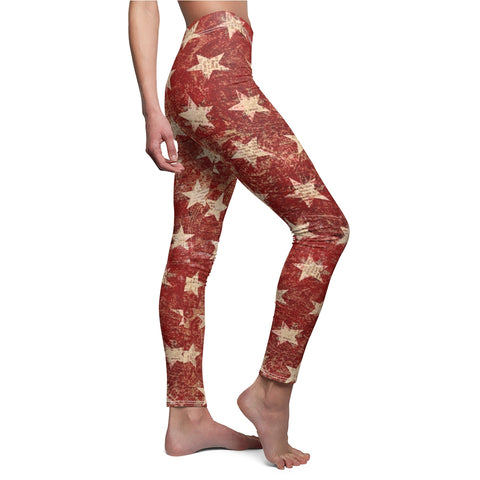 Rustic Red Stars From the American Flag Leggings With The Word Printed On the Blue Back Ground Leg