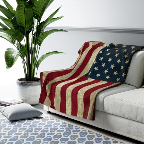 Grunge American Flag USA Sherpa Fleece Blanket