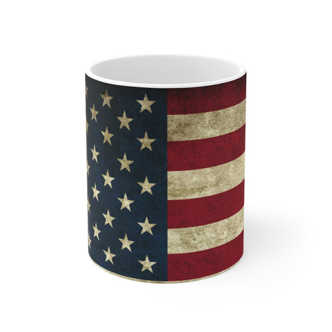 American Flag Mug 11oz With Grunge Print