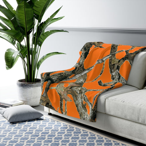 Hunting Blaze Orange Camo Sherpa Fleece Blanket