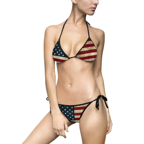 American Flag Grunge Bathing Suit Bikini For Ladies Including Plus Sizes up to 5x